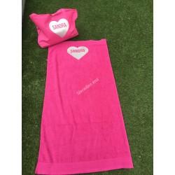 COMBI SET strandtas en badhanddoek roze met zilverer glitter hart met naam